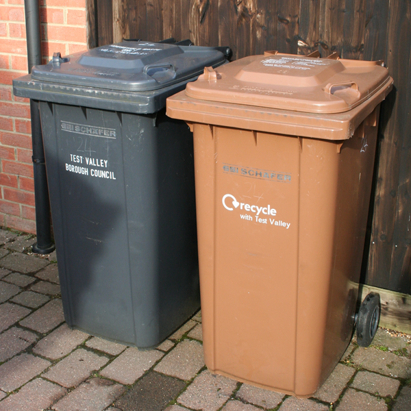 Black and Brown 240 lt. Wheeled Bins