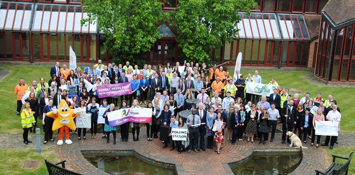 Staff at Test Valley Borough Council celebrate reaching the final of the MJ Awards