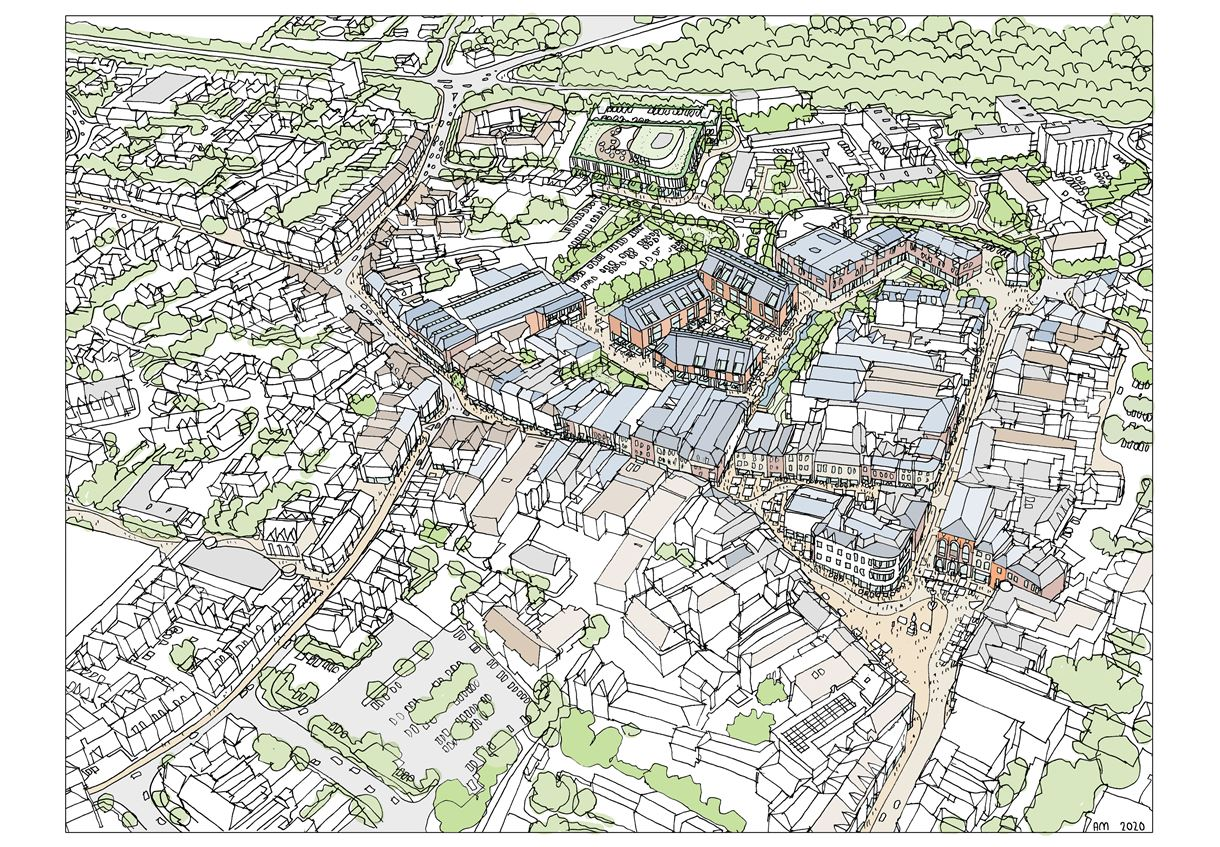 artist impression aerial view of the proposed Romsey development